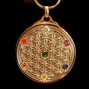 EforcePlus Flower of Life Chakra Pendant Rose Gold